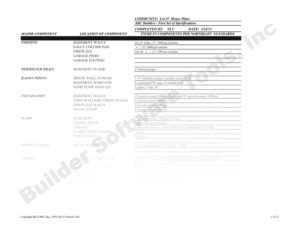 Item# 320.95 - Builder (Construction) Specification Sheets